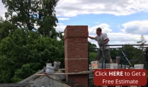 man working on chimney masonry