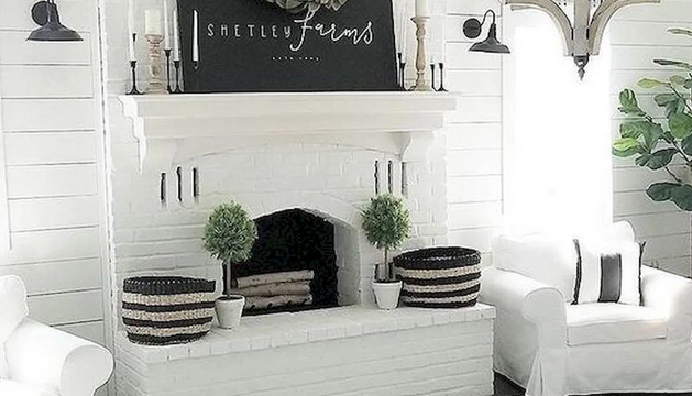 farmhouse fireplace basket decor