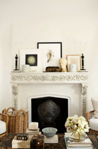 classic fireplace basket decor